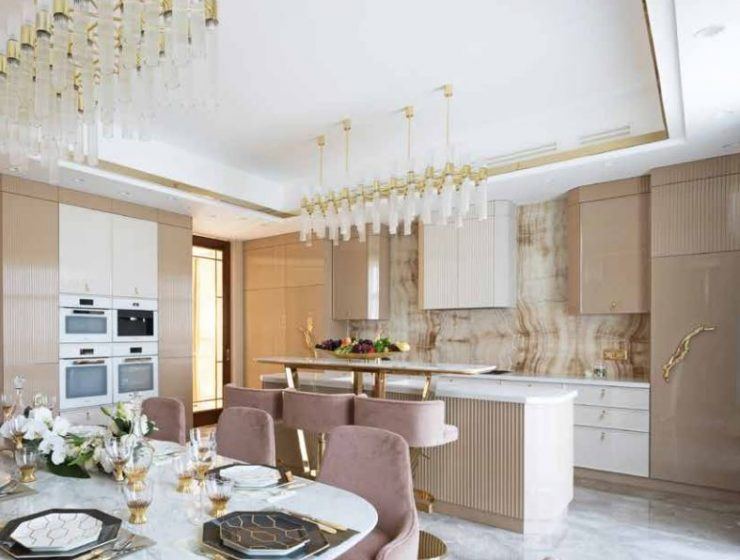A Luxury Kitchen Where Gold and Coral Create a Stunning Environment luxury kitchen A Luxury Kitchen Where Gold and Coral Create a Stunning Environment 2 740x560