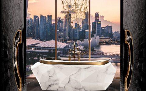 Diamond Bathtub by Maison Valentina bathroom design Bathroom Design Ideas That Will Steal Your Breath Away stunning master bathroom with bathtub in carrara faux marble 1 1 480x300