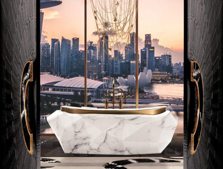 Diamond Bathtub by Maison Valentina bathroom design Bathroom Design Ideas That Will Steal Your Breath Away stunning master bathroom with bathtub in carrara faux marble 1 1 740x560