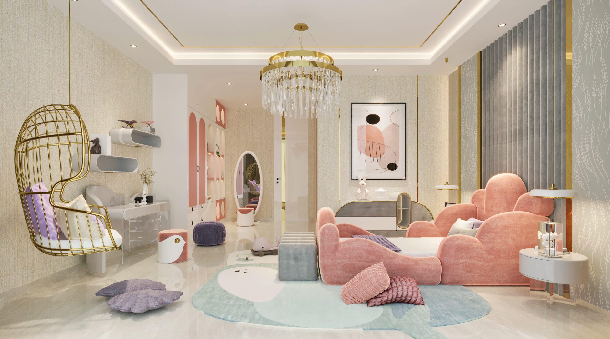 Pink bedroom area